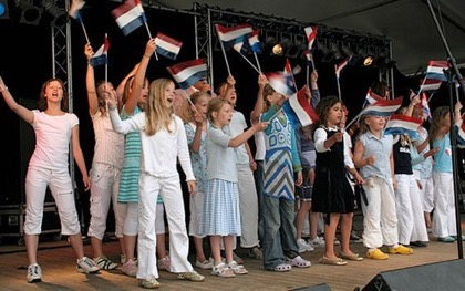 Children sing at Flag Day in the Netherlands